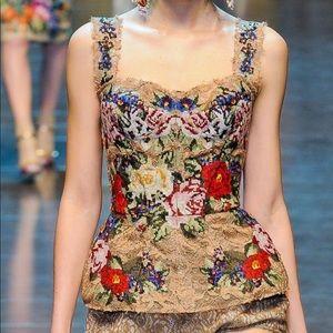 Iconic Dolce&Gabbana Beige Lace Floral Corset